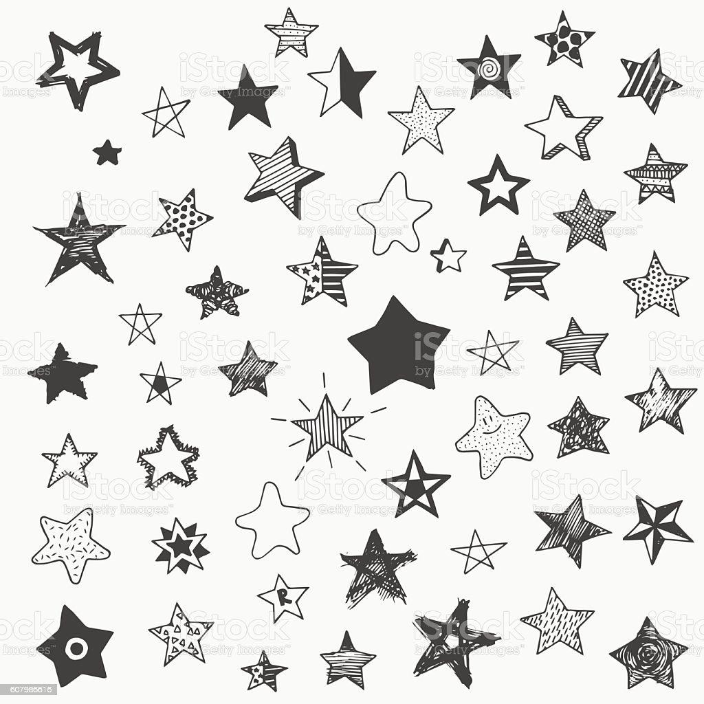 Stars Doodle Graphic Big Set Simple Cartoon Different Star