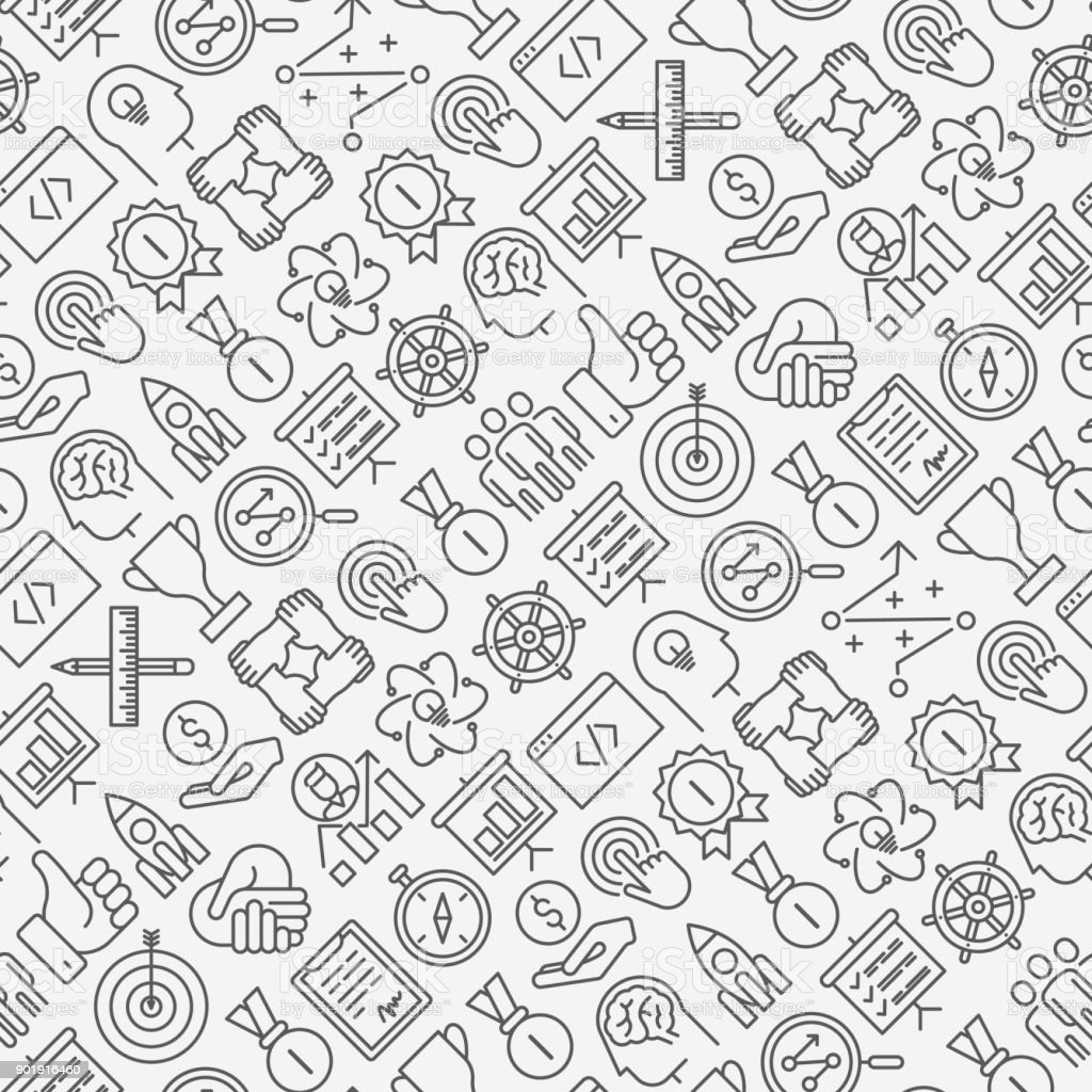 Start Up Seamless Pattern With Thin Line Icons Of
