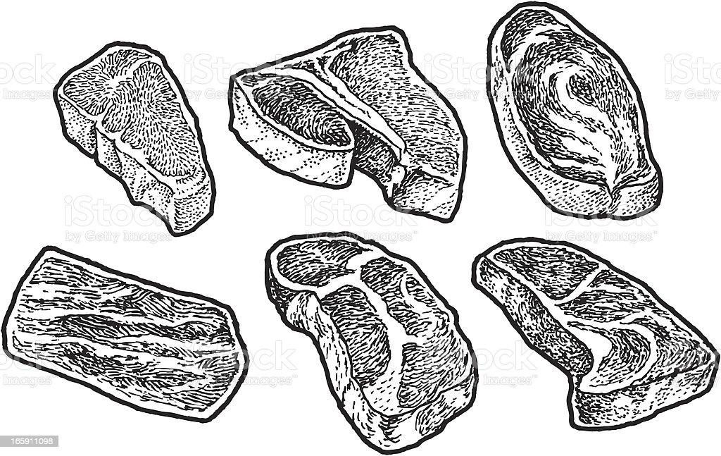 Steak Meat Beef Tbone Sirloin Stock Illustration