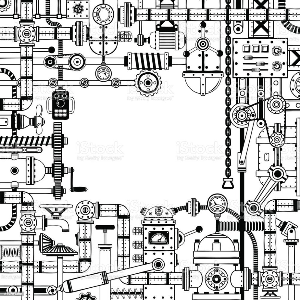 medium resolution of steampunk doodle frame of various machine parts illustration