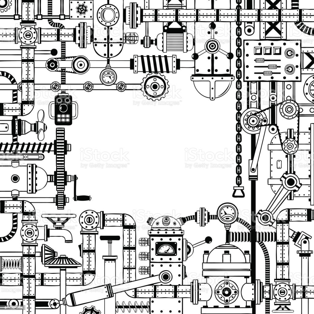 hight resolution of steampunk doodle frame of various machine parts illustration
