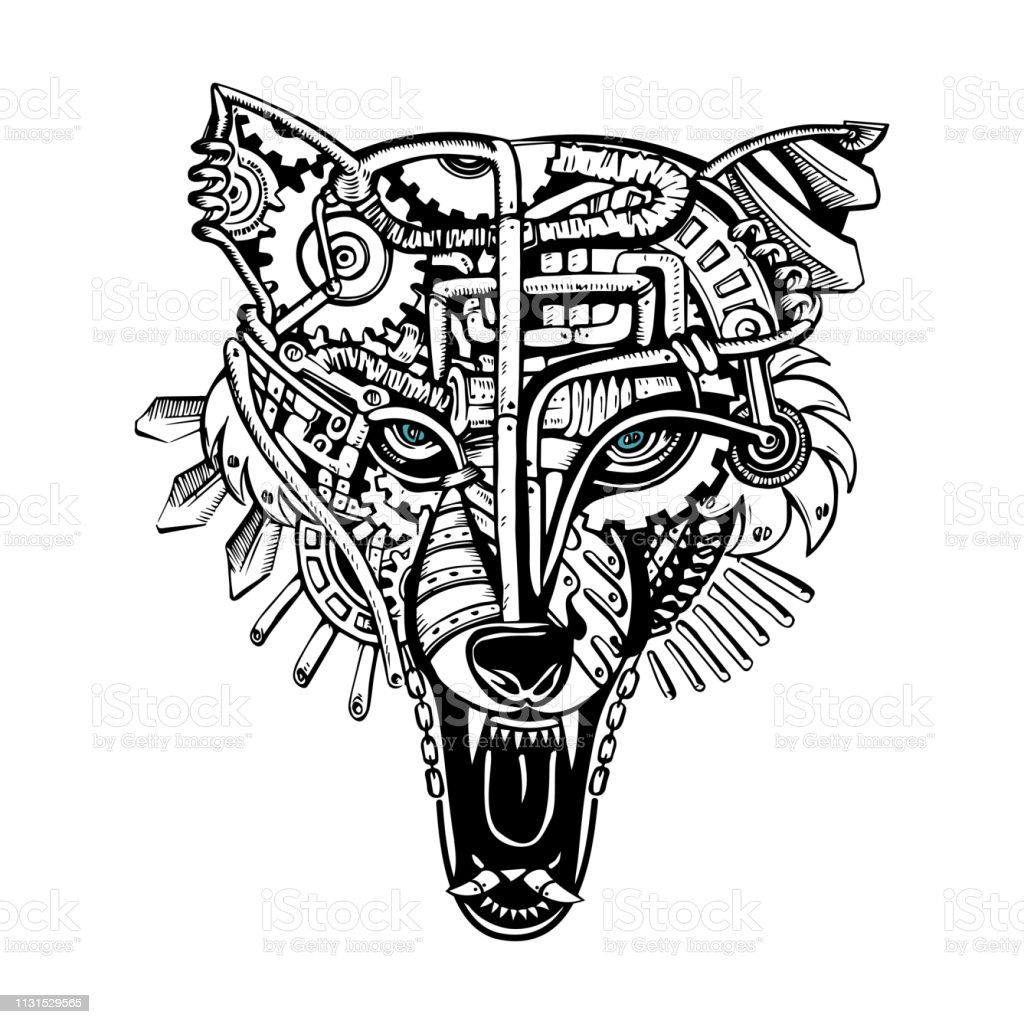 Steampunk Wolf Mechanical Wolf Animal Drawings With