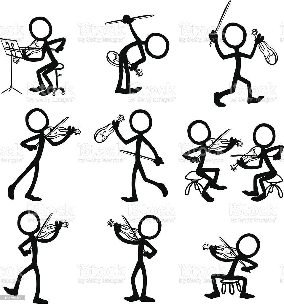 Stick Figure People Violin Stock Vector Art  More Images
