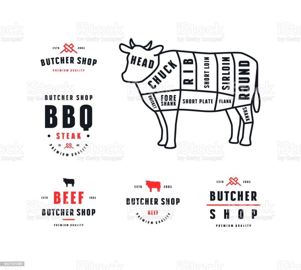 hight resolution of stock vector beef cuts diagram and label for butcher shop illustration