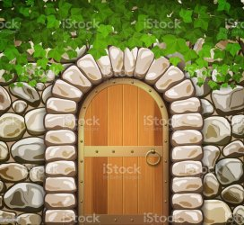 door castle vector clip arched illustrations wall medieval wooden stone leaves illustration graphics cartoons