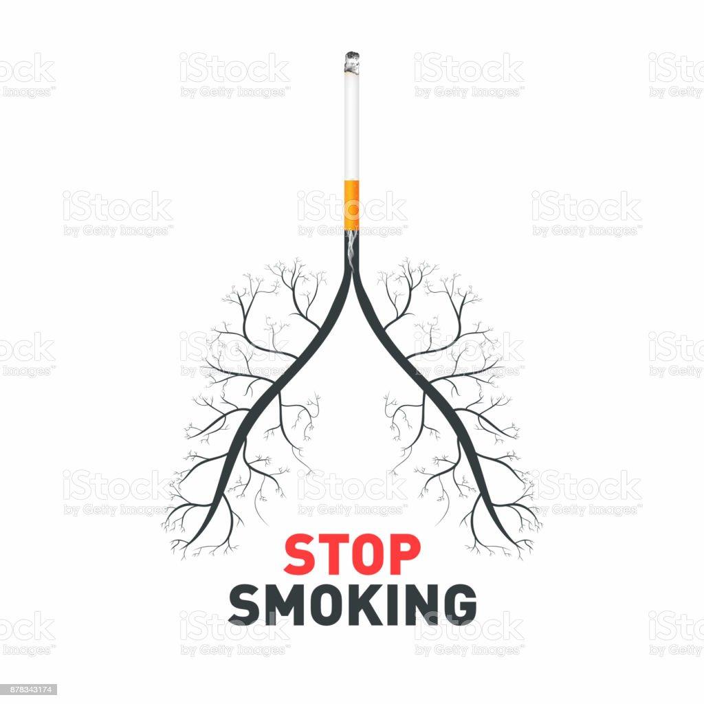 Stop Smoking Cigarette With Human Lungs No Smoking