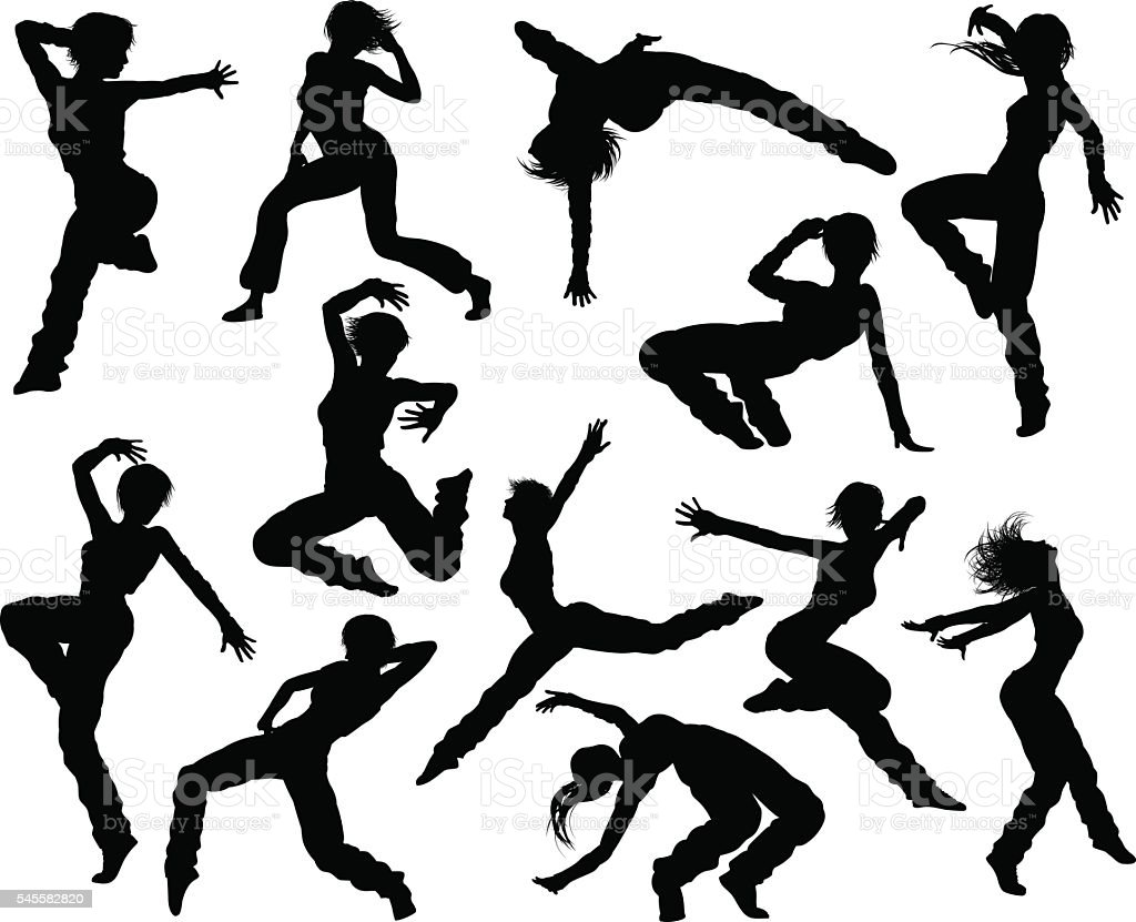 hight resolution of street dance dancer silhouettes stock vector art more ballet dance clip art dance team clip art