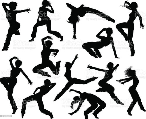 small resolution of street dance dancer silhouettes stock vector art more ballet dance clip art dance team clip art