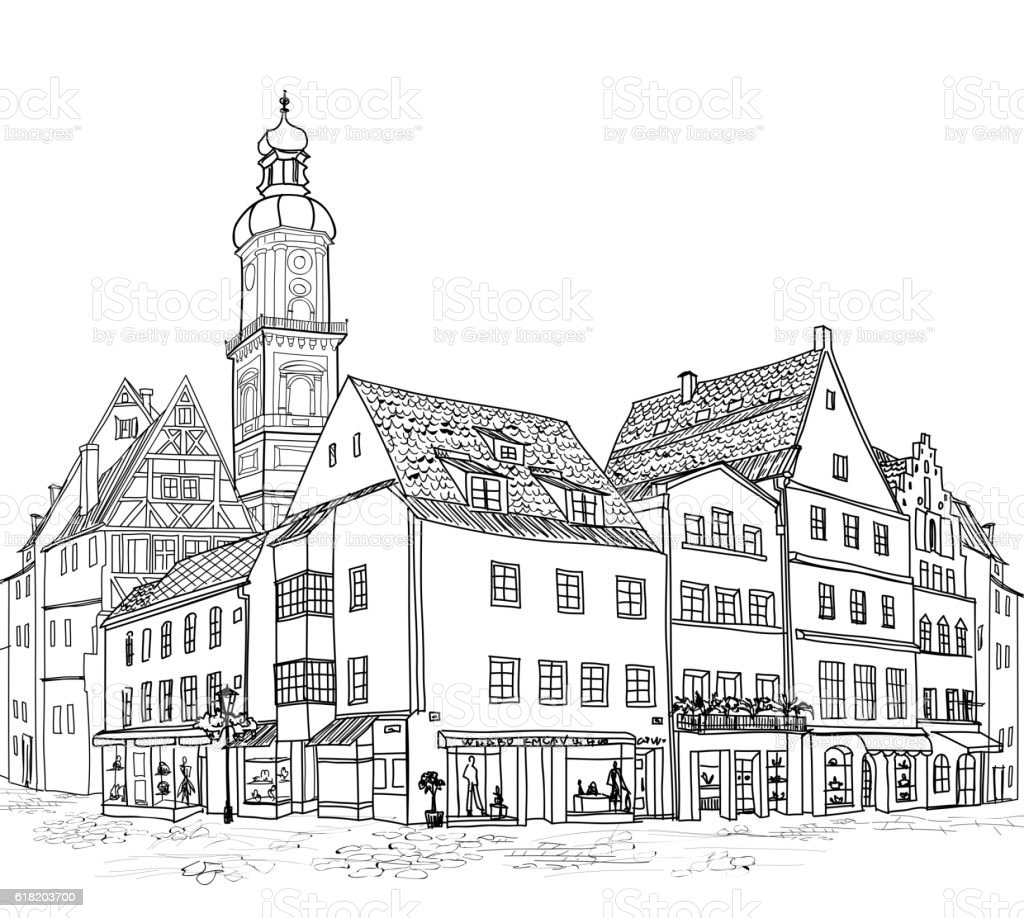 Street View German City Buildings Urban Engraving