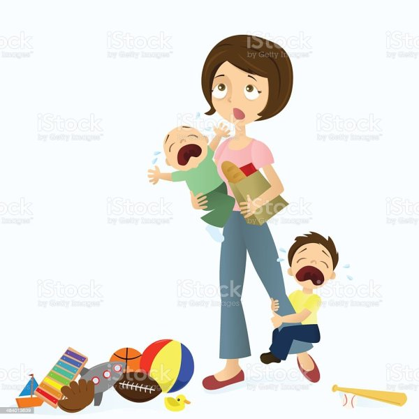 Stressed Mom Stock Vector Art & Of Adult