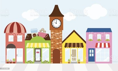 mall shopping business strip center street cartoon building businesses vector illustration market exterior commercial shops retail structure built space interior