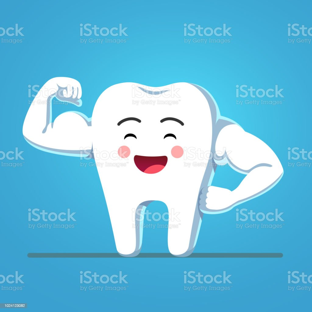 hight resolution of strong and healthy bodybuilder tooth showing sturdy enamel biceps motivational clipart flat isolated vector