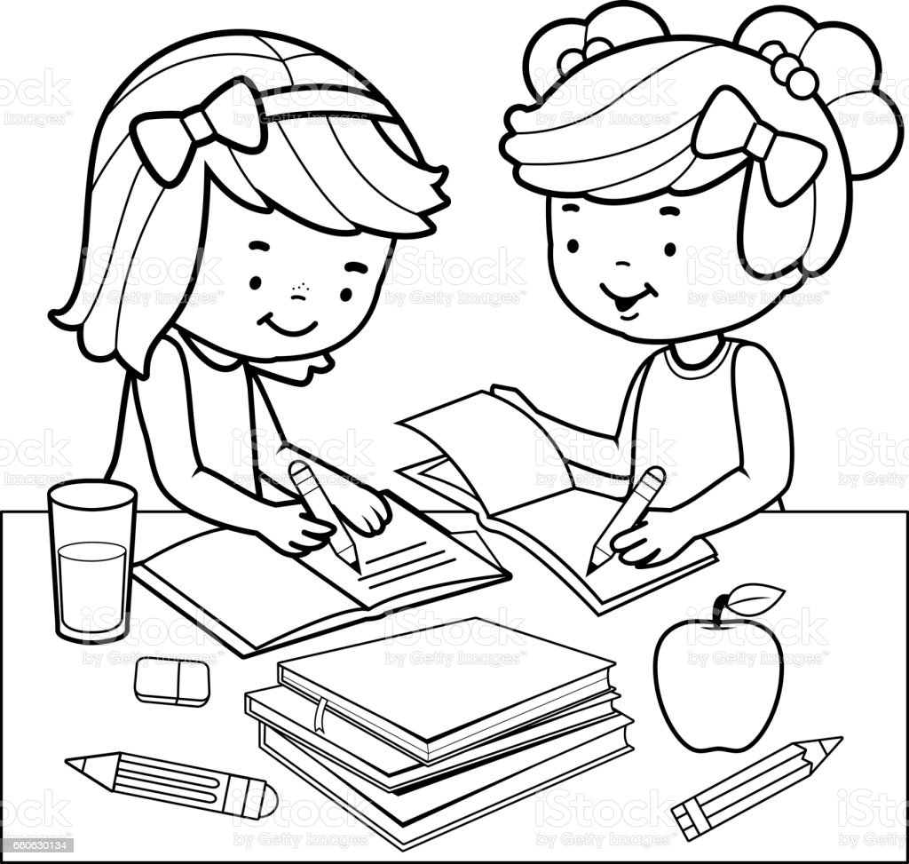 Students Doing Homework Black And White Coloring Book Page