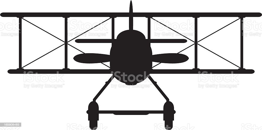 Ww1 Style Military Biplane Silhouette Stock Vector Art
