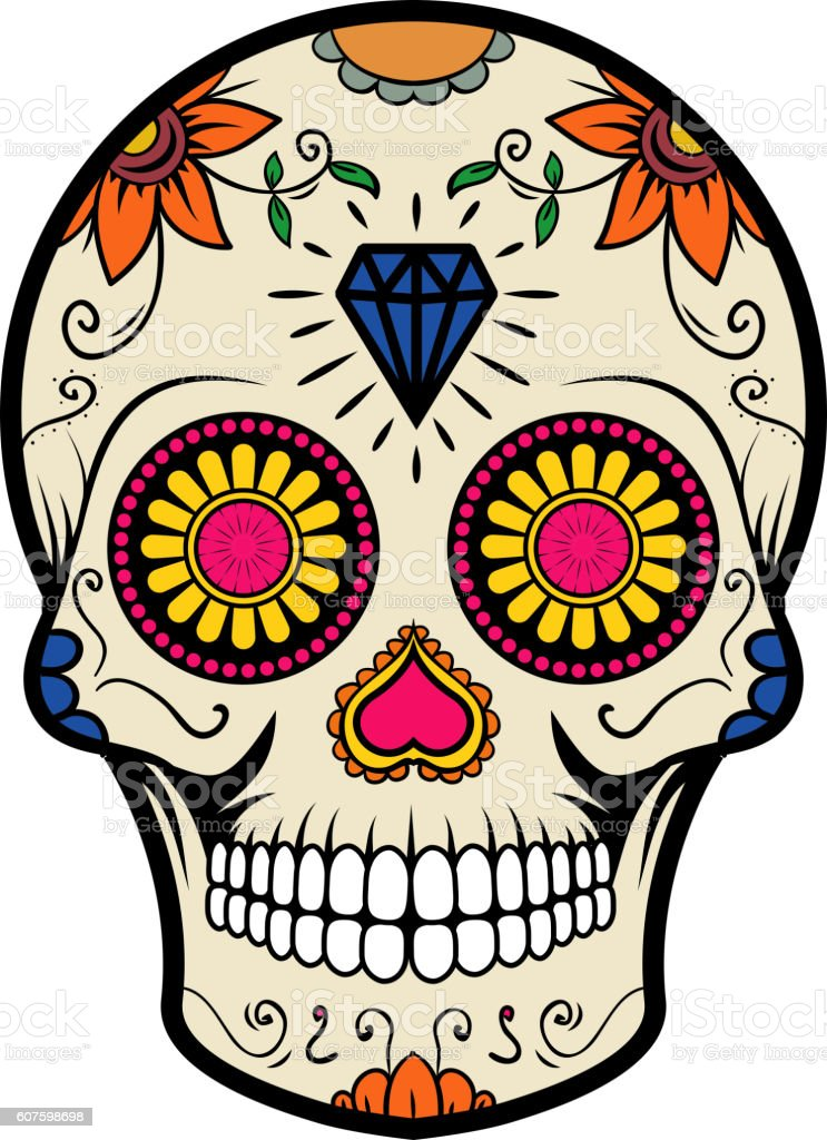 Sugar Skull Isolated On White Background Day Of The Dead