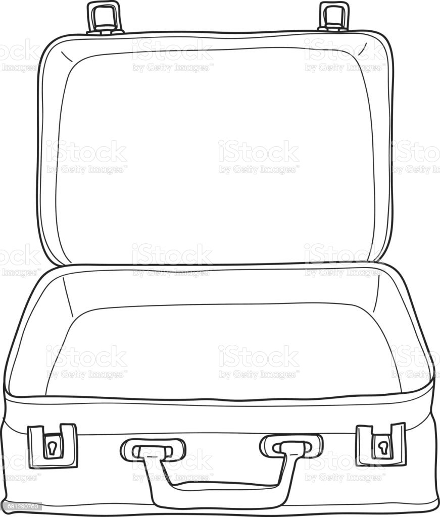 Suitcase Luggage Vintage Hand Drawn Cute Vector Line Art