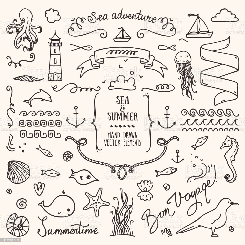 Summer Holiday Sea Life Vacation Linear Illustrations Clip