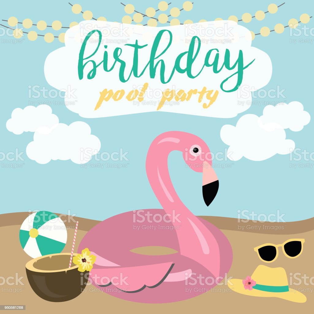 Summer Illustration Poster For Pool Party Or Beach Party, Invitation For  Birthday Party Royalty-