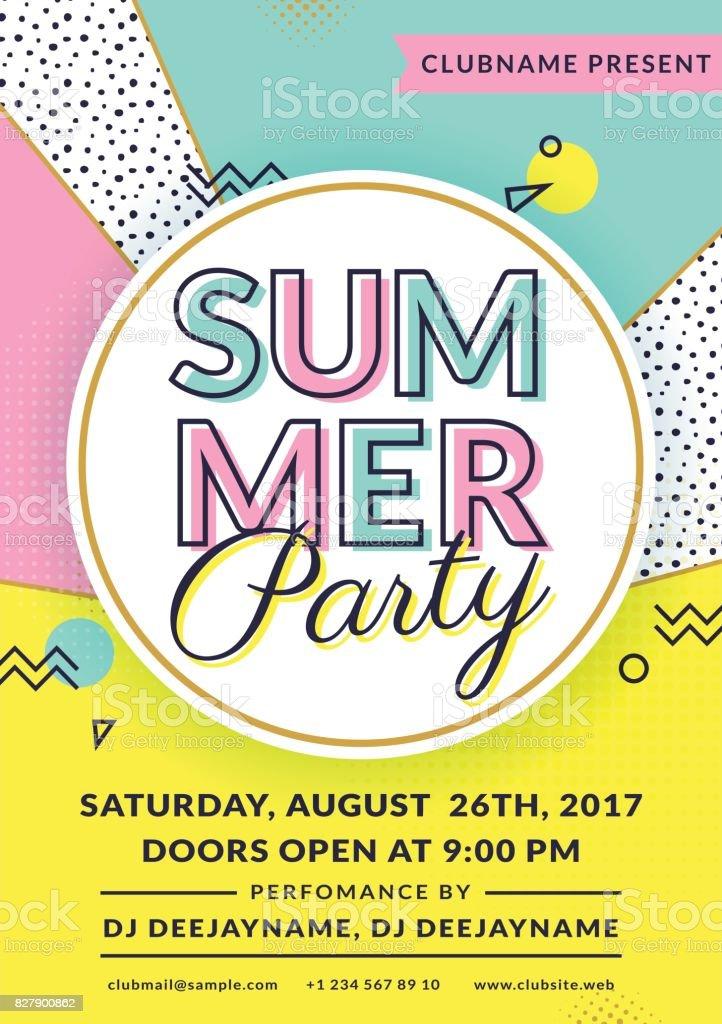 Summer Party Invitation Vector Flyer Template Stock Vector Art ...