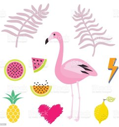 summer pink flamingo clipart icon set vector illustration royalty free summer pink flamingo [ 1024 x 1024 Pixel ]