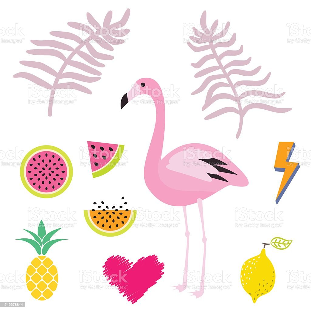 hight resolution of summer pink flamingo clipart icon set vector illustration royalty free summer pink flamingo
