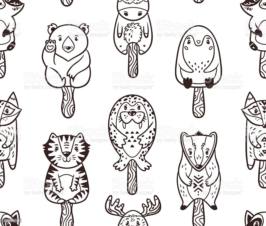 Summer Seamless Popsicle Pattern With Cartoon Animals On A