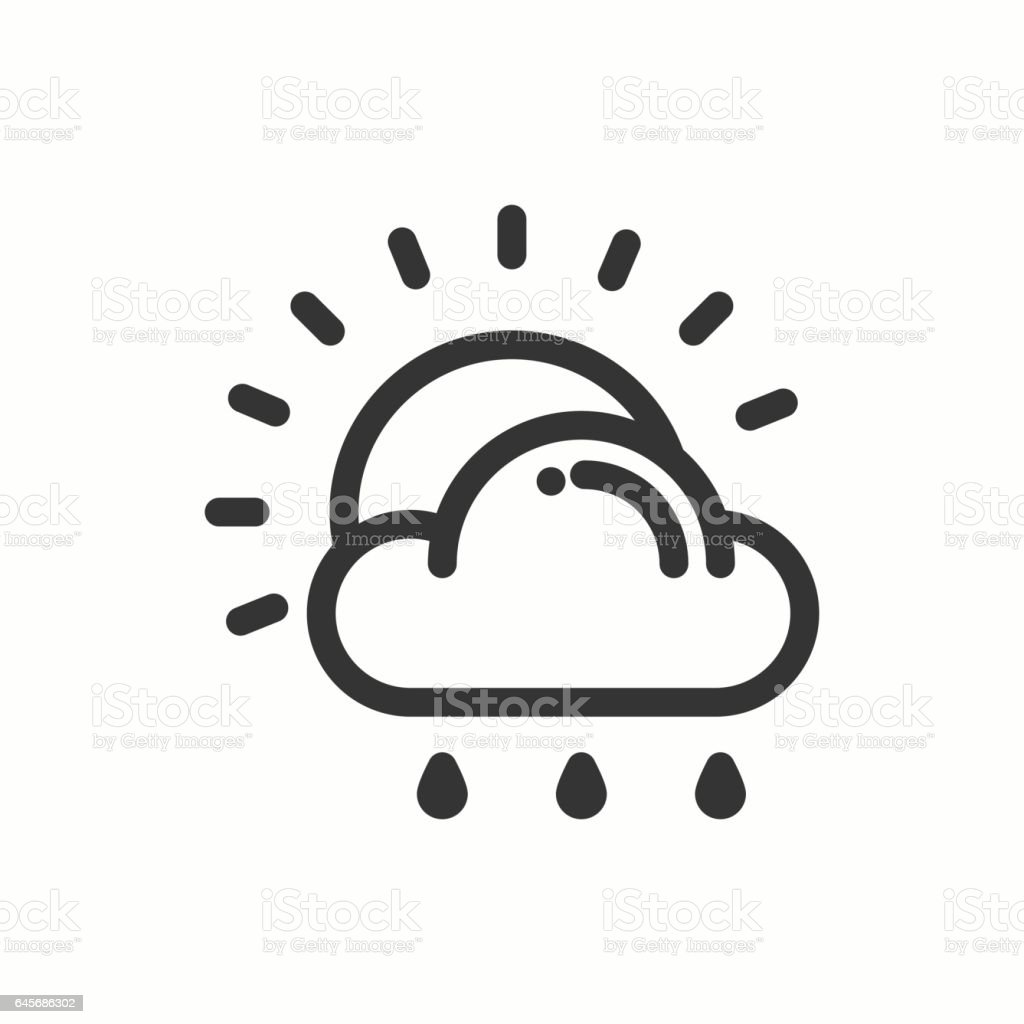 Sun Cloud Rain Line Simple Icon Weather Symbols