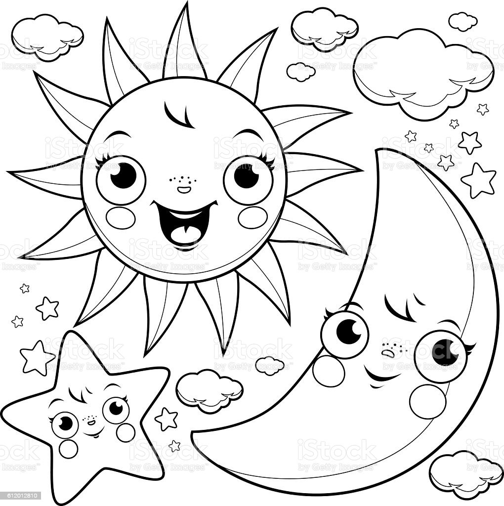 Sun Moon And Stars Coloring Page Stock Illustration