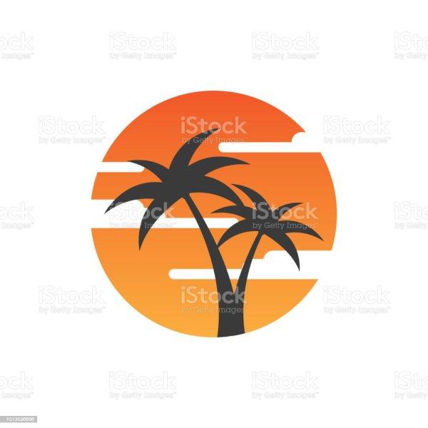 Sunset Palm Logo Design Template Stock Vector Art &