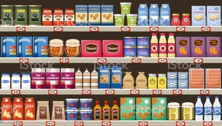 supermarket shelves drinks illustration vector istock