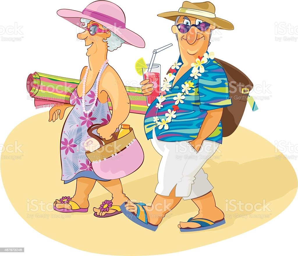 sweet senior couple beach