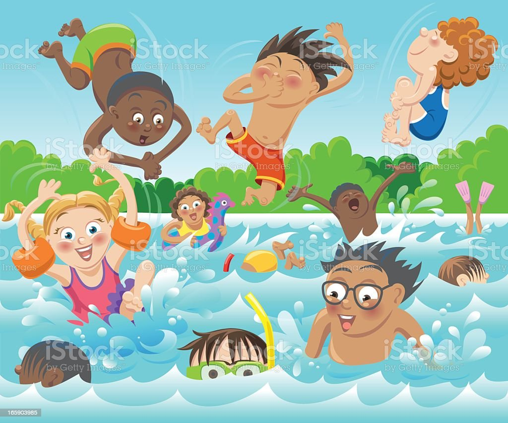 Swim Kids Stock Vector Art  More Images of Black Color 165903985  iStock