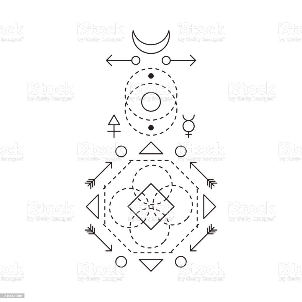 Symbol Of Alchemy And Sacred Geometry Linear Character