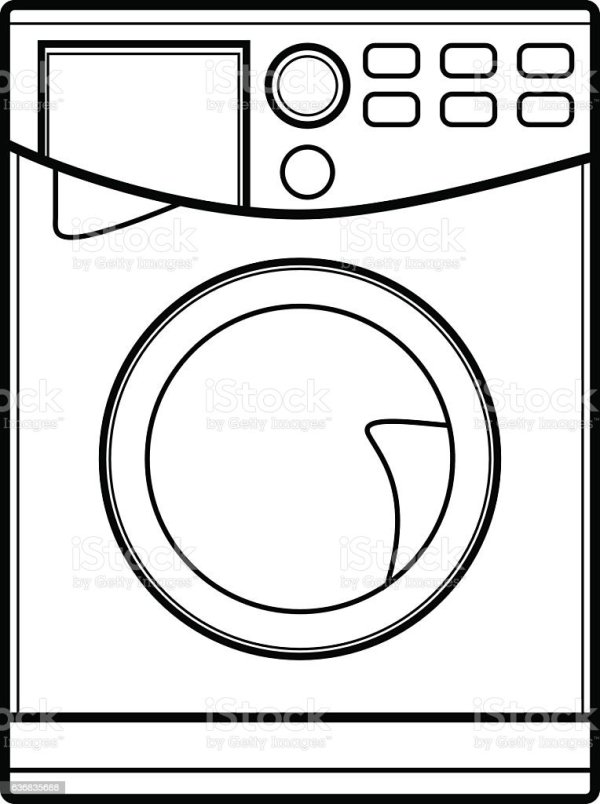 Symbol Of Washing Machine Line Art Vector Illustration