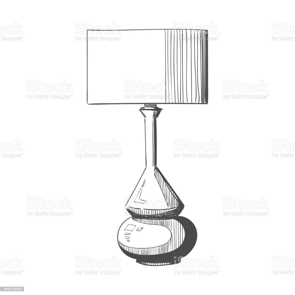 Table Lamp Sketch Stock Vector Art & More Images of Arts