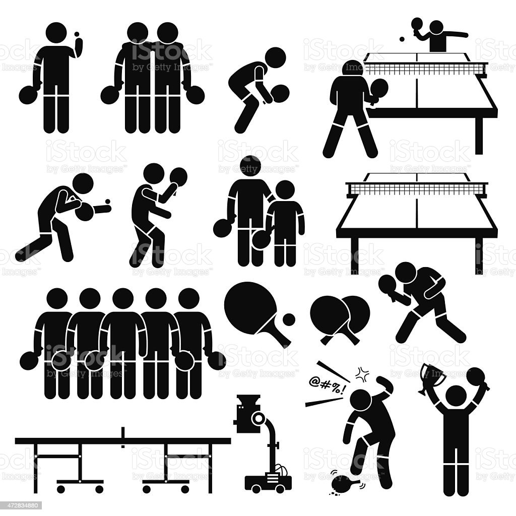 Table Tennis Player Actions Poses Stick Figure Pictogram