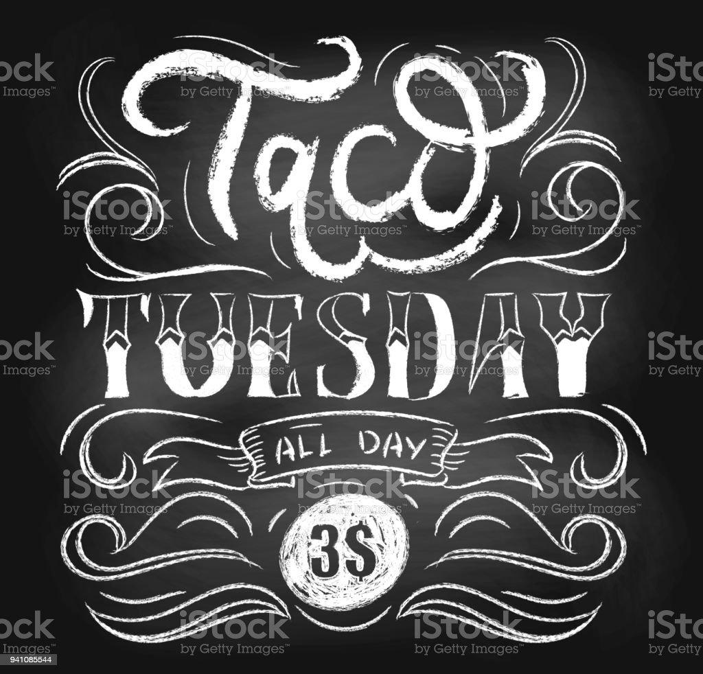 taco tuesday chalkboard vector