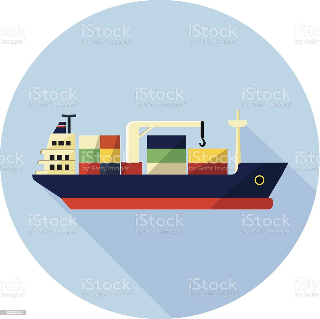 hight resolution of tanker cargo ship with containers illustration