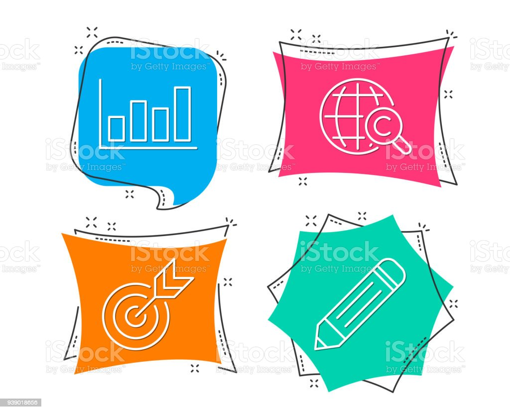 hight resolution of target report diagram and international opyright icons pencil sign illustration