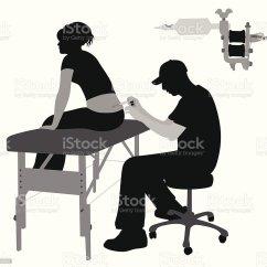 Tattoo Artist Chair Desk Cb2 Vector Silhouette Stock Art More Images Of Illustration