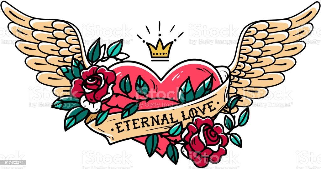 Ilustración De Tatuaje De Corazón Con Alas La Cinta Rosas Y Corona