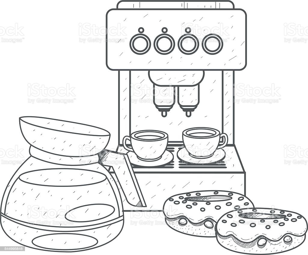Teapot Brewing Coffee Outline Drawing Coffee Machine And