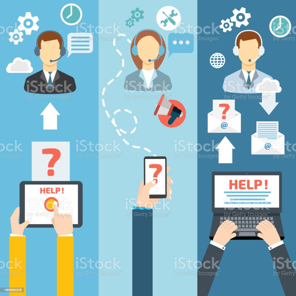 Technical Support Call Center Contact Flat Banner Set Vector Ill Stock Vector Art  More Images
