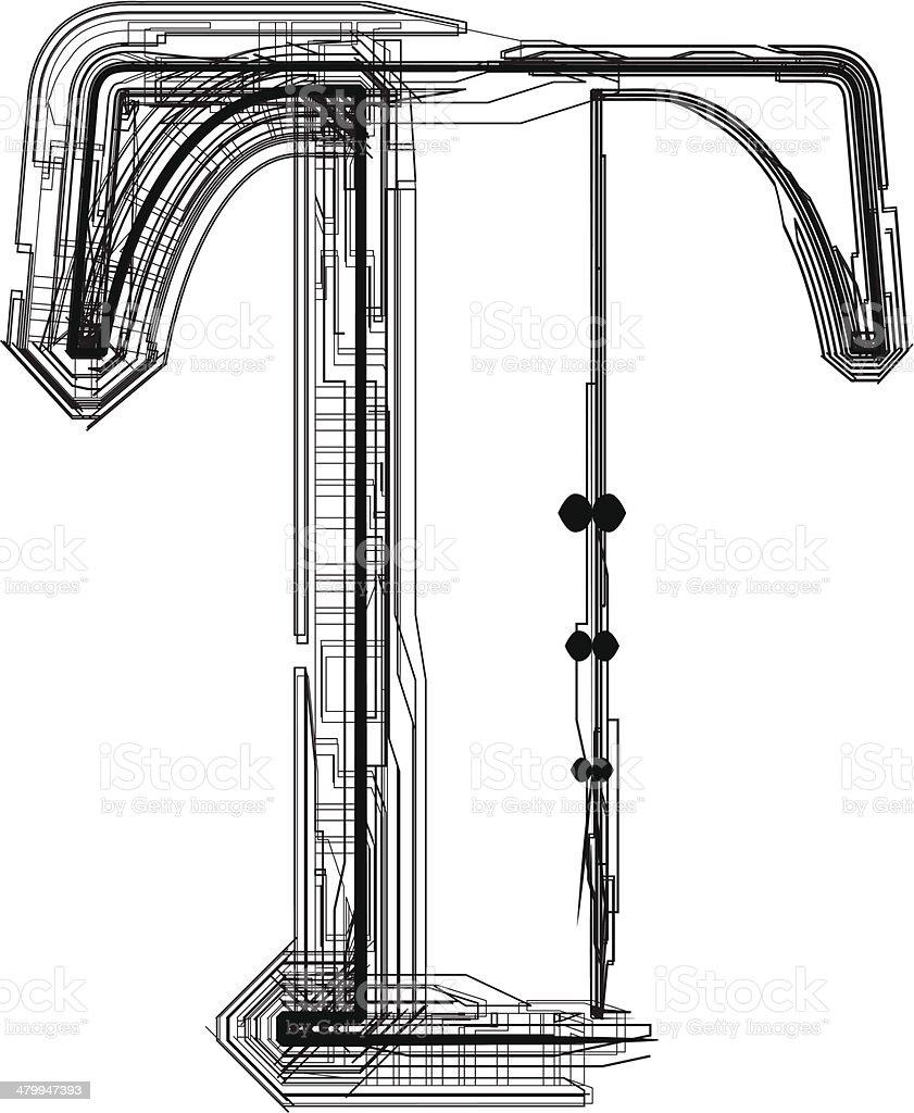 Technological Font Letter T Stock Vector Art & More Images
