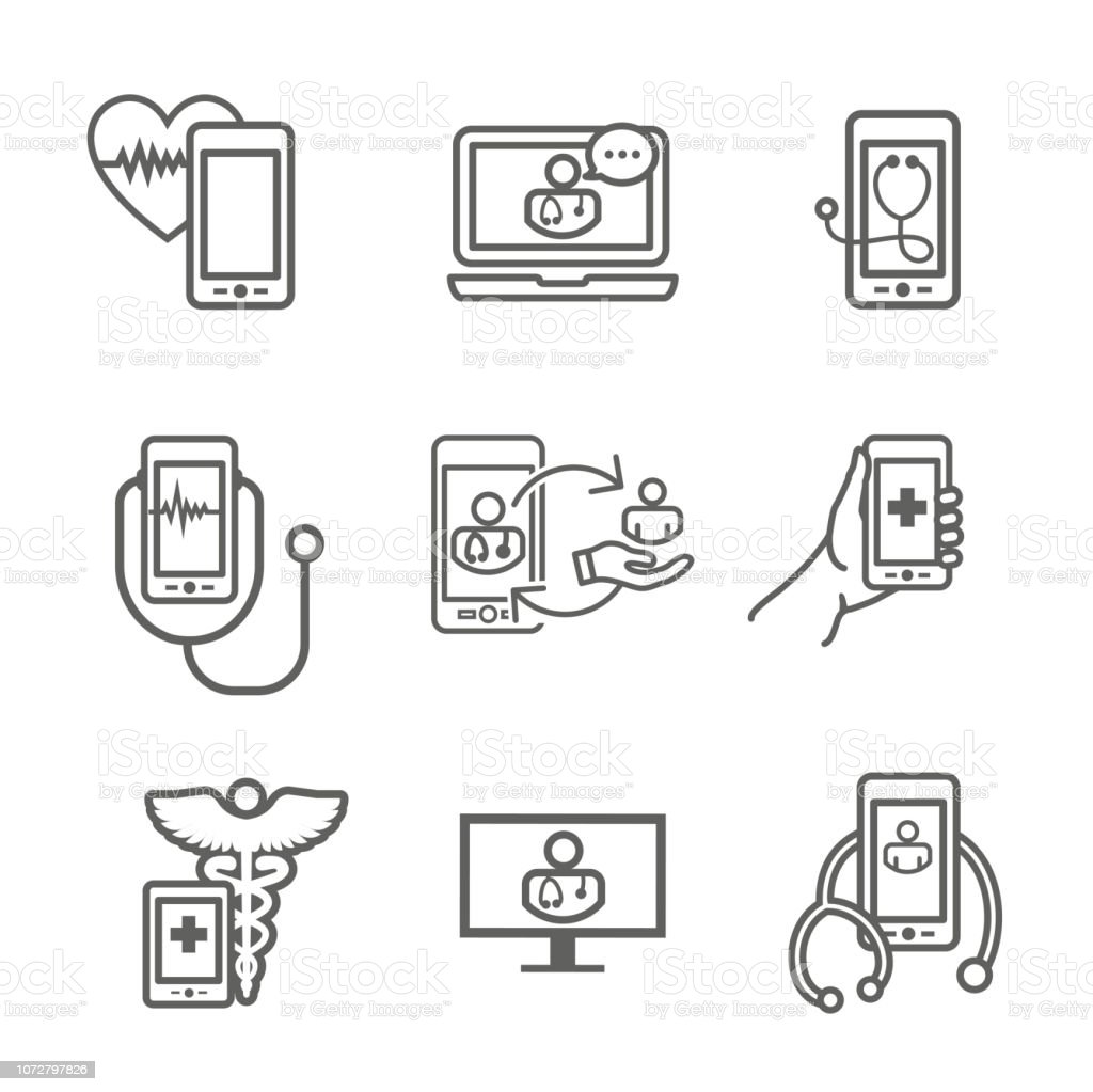 Telemedicine Abstract Idea With Icons Illustrating Remote