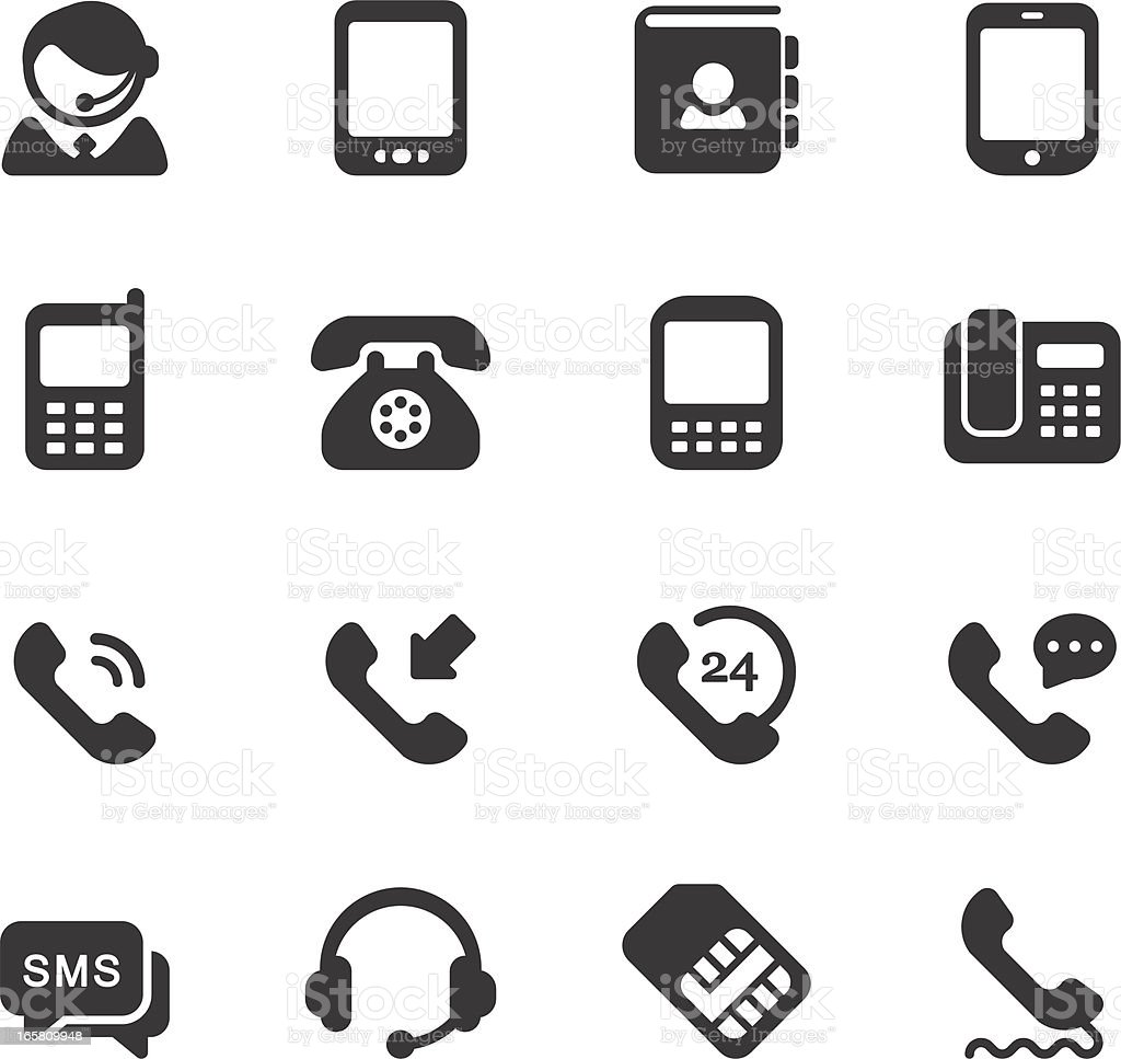 Telephone Icons Stock Vector Art & More Images of 24 Hrs