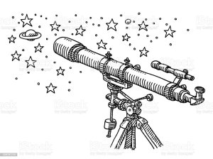 telescope space drawing stars exploration illustration vector astronomy sketch drawings illustrations istock simple clip para easy planets sketches estrelas exploracao