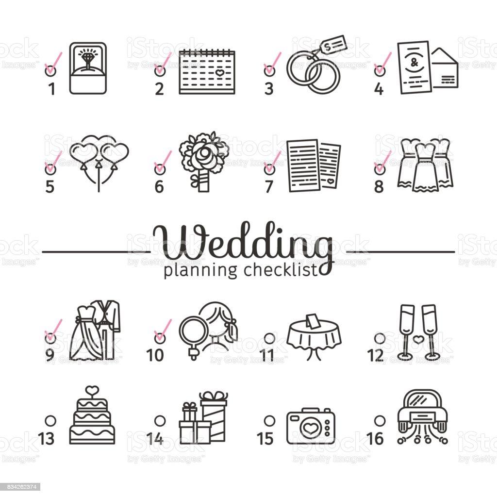 Template Design Wedding Planning Checklist With Romantic