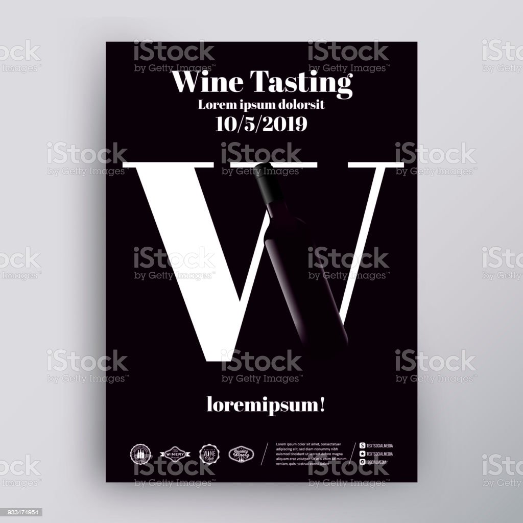 Template For Poster Design Flyer Cover For Wine Event Wine Letter Concept And Bottle