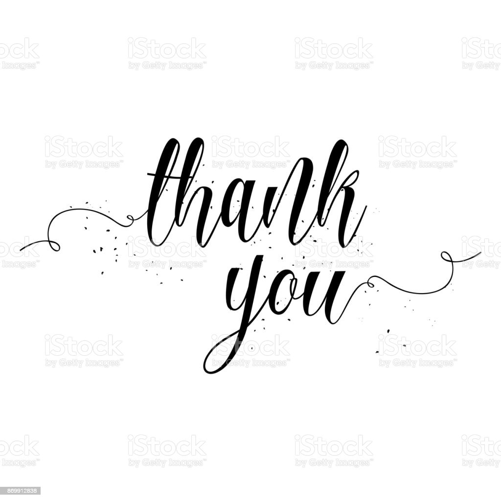 Thank You Calligraphy Sign Brush Painted Letters Gratitude